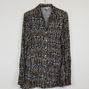 Alberto Makali crinkled sequenced button down top